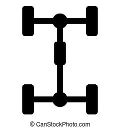 Undercarriage Chassis Carriage for car Vehicle frame icon black color vector illustration flat style image