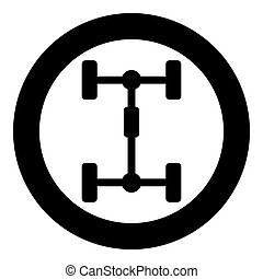 Undercarriage Chassis Carriage for car Vehicle frame icon in circle round black color vector illustration flat style image