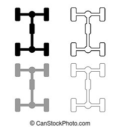 Undercarriage Chassis Carriage for car Vehicle frame icon outline set black grey color vector illustration flat style image