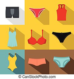 Underclothes icon set, flat style