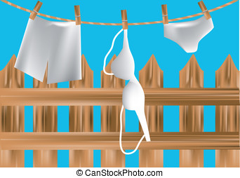 underclothes - underwear drying on a rope over the fence