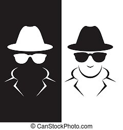 Undercover agent or spy - private detective icon