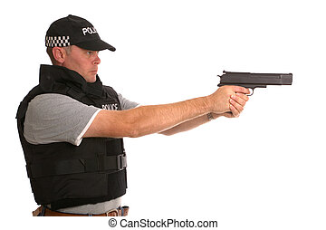 Undercover armed Police officer side profile.