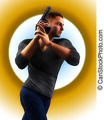 Undercover Cop With Gun 2 - An undercover cop holding a gun.