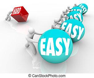 underdog, 懸命に, 克服, 困難, ∥対∥, 容易である, 競争