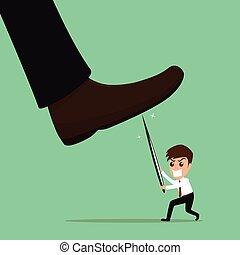 Underdog businessman fighting against repression and injustice. vector illustration.