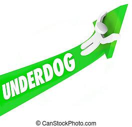 underdog, wort, 3d, pfeil, mann, unerwartet, gewinner, konkurrenz