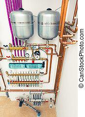 underfloor, 加熱, boiler-room, システム