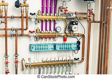 underfloor, calefacción, boiler-room, sistema