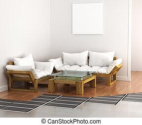 underfloor, fűtés, floor., rendszer, meleg, ábra, interior...