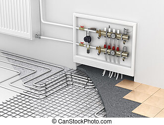 Underfloor heating with collector and radiator in the room. ...
