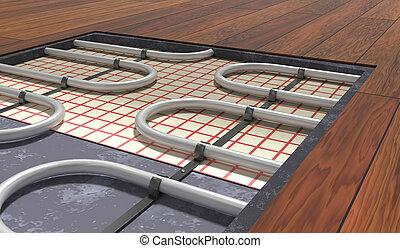 underfloor, reso, legno, riscaldamento, floor., sistema, sotto, illust, 3d