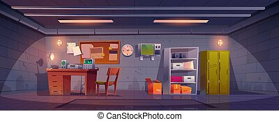 Underground bunker interior with lockers, appliances on desk, stocks on shelves and hatchway in floor. Vector cartoon illustration of bomb shelter for survival under nuclear war. Secret science base