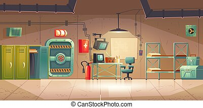 Underground bunker, empty bomb shelter control room, headquarters base for survival. Secret scientific laboratory command post with control panel, furniture, radio station cartoon vector illustration