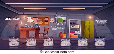 Underground bunker infographics time line, bomb shelter control room pc quest game stages, headquarters base for survival, command post with control panel and radio station cartoon vector illustration