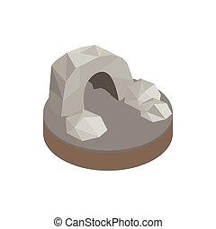 Underground cave isometric 3d icon