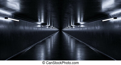 Underground concrete utility tunnel with low key blue lighting industrial grunge concrete background 3d render illustration