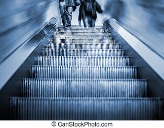 Underground Elevator with motion blur and blue tint -...