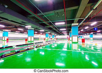 Underground garage - New underground car park, empty without...