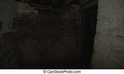 Underground hallway - A gliding shot from a hallway of an...