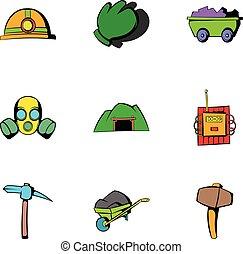 Underground icons set, cartoon style
