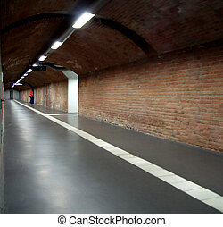 Underground - In the tunnel. The focus goes to the depths....