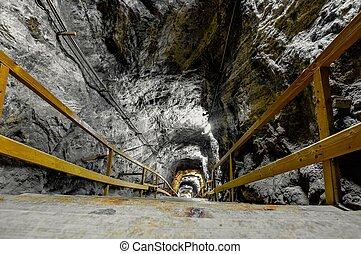 Underground mine passage in bright light