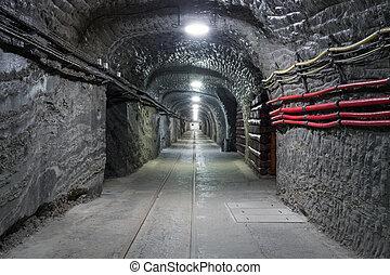 Underground mine tunnel in famous Wieliczka Salt Mine, ...