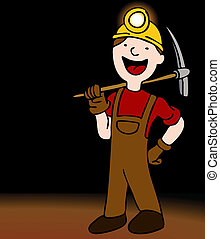 An image of a miner with axe and helmet.