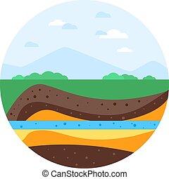 Underground mountain. Flat realistic design - Underground...