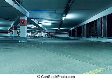Underground parking garage interior