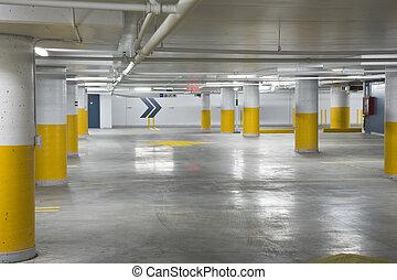 Underground parking garage - Interior view of a new...