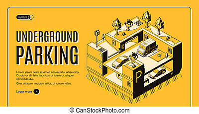 Underground parking isometric website