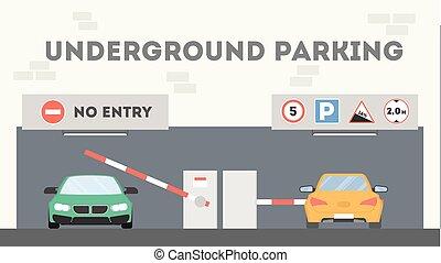 Underground parking lot. Cars parking under the building.