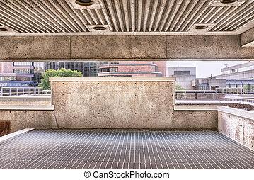 Underground parking, sunny summer day. HDR effect.