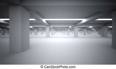Underground parking repeatly moving -Side - 3d animation -...