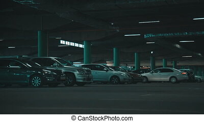 Underground parking - Underground mall parking  with cars
