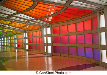 Underground passage in the Chicago O'Hare airport