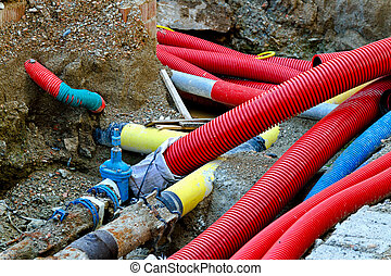 Underground pipes - Underground construction of pipes hoses ...