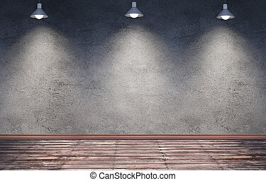 Underground room with hanging metal lamps.
