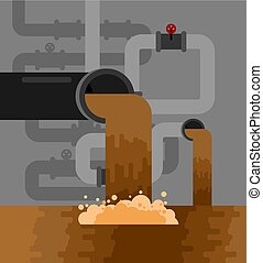 Underground sewerage System pipe. Water supply and Sanitation Sewage. Vector illustration