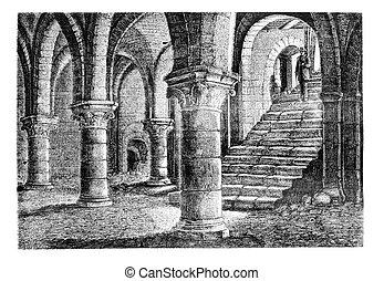 Underground the tithe barn, a Provins (Seine-et-Marne), ...