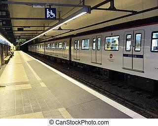 Underground - Train in Barcelona city underground