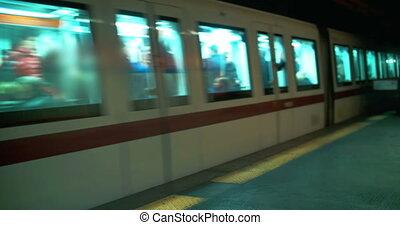 Underground train passing by