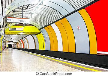 Underground tube - Interior of platform and underground tube...