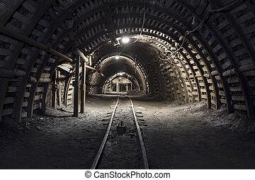 Underground tunnel in the coal mine - Illuminated,...