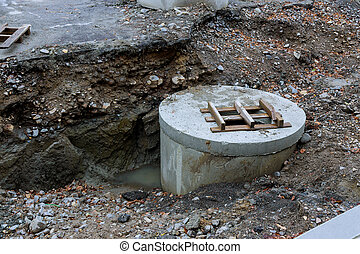 Underground urban sewage construction of a storm sewer collector communications the concrete blocks