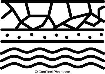 Underground water icon, outline style - Underground water...