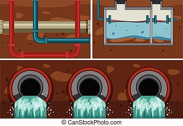 Underground Water Sewer Pipe System illustration