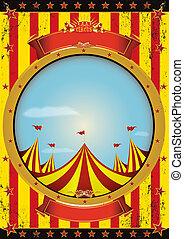 underhållning, cirkus, affisch